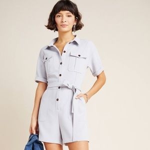 NWT Anthropologie Delton Utility Romper In Grey